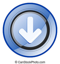 Download arrow round blue glossy web design icon isolated on white background