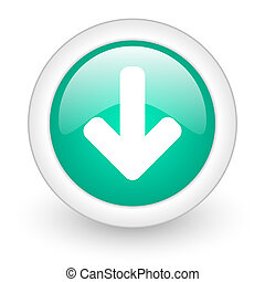 download arrow round glossy web icon on white background