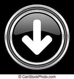 download arrow silver chrome metallic round web icon on black background