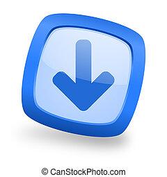 download arrow square glossy blue web design icon