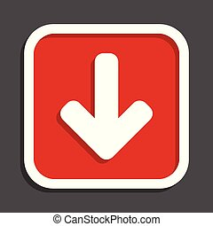 Download arrow vector icon. Flat design square internet red button.