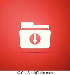 Download arrow with folder icon isolated on red background. Flat design. Vector Illustration