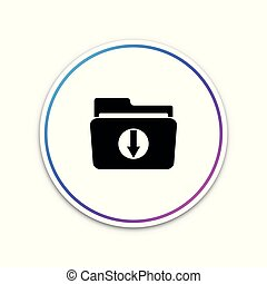 Download arrow with folder icon isolated on white background. Circle white button. Vector Illustration