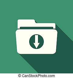 Download arrow with folder icon isolated with long shadow. Flat design. Vector Illustration