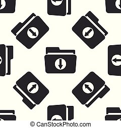 Download arrow with folder icon seamless pattern on white background. Flat design. Vector Illustration