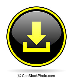 download black and yellow glossy internet icon