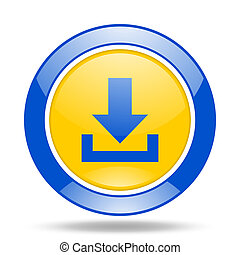 download blue and yellow web glossy round icon