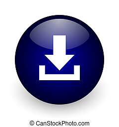 Download blue glossy ball web icon on white background. Round 3d render button.