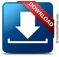 Download blue square button red ribbon in corner