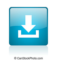 download blue square web glossy icon