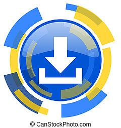 download blue yellow glossy web icon