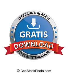 download, botão, escudo, gratis