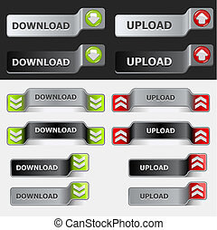 download, botão, jogo, upload