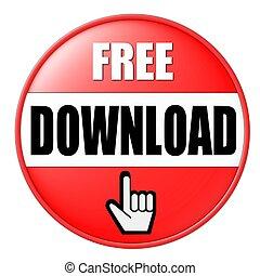 download, botão, livre, vermelho