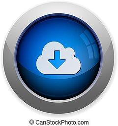 download, botão, nuvem
