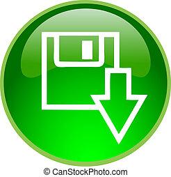 download, botão, verde
