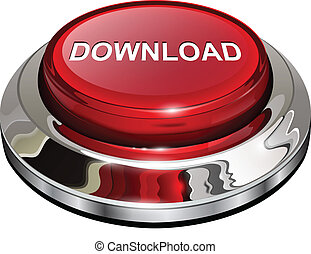 Download button, 3d red glossy metallic icon, vector.