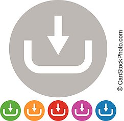 Download button, download icon. Arrow pointing down to a hard drive, Vector