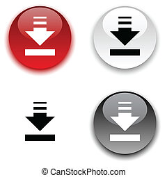 Download button. - Download glossy round vector buttons.
