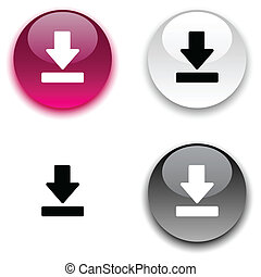 Download button. - Download glossy round vector buttons. .