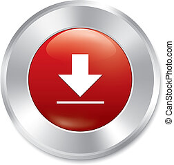 Download button. Vector red round sticker.