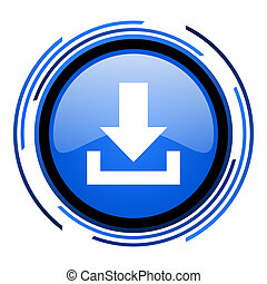 download circle blue glossy icon