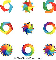 Download colorful icons set, cartoon style