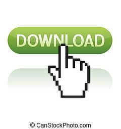 download, cursor, botão, mão