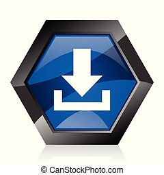 Download dark blue glossy hexagon geometric diamond vector web icon with reflection on white background. Modern design hexagonal internet button.