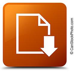 Download document icon brown square button