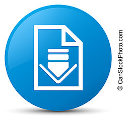 Download document icon cyan blue round button