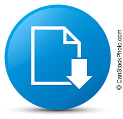 Download document icon cyan blue round button
