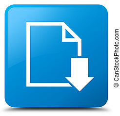 Download document icon cyan blue square button