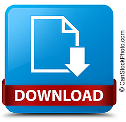 Download (document icon) cyan blue square button red ribbon in middle