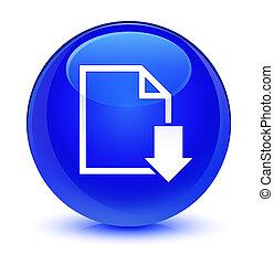 Download document icon glassy blue round button