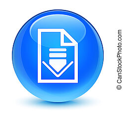 Download document icon glassy cyan blue round button