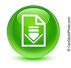 Download document icon glassy green round button