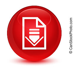 Download document icon glassy red round button