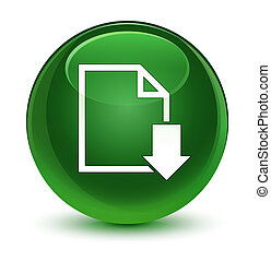 Download document icon glassy soft green round button