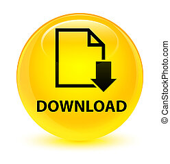 Download (document icon) glassy yellow round button