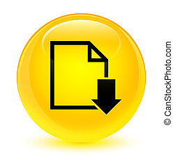 Download document icon glassy yellow round button