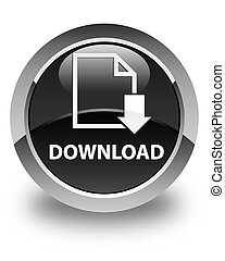Download (document icon) glossy black round button