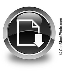 Download document icon glossy black round button