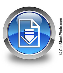 Download document icon glossy blue round button 2