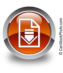 Download document icon glossy brown round button