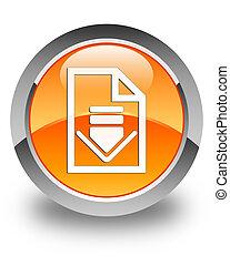 Download document icon glossy orange round button 2