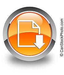 Download document icon glossy orange round button