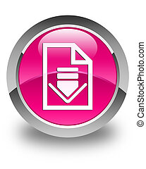 Download document icon glossy pink round button