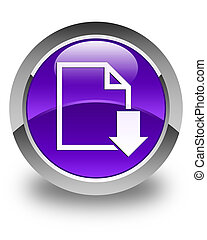 Download document icon glossy purple round button