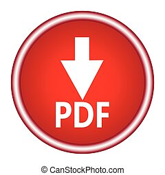 Download (document icon) glossy red round button. Vector illustration.
